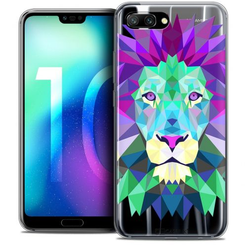 "Coque Crystal Gel Huawei Honor 10 (5.8"") Extra Fine Polygon Animals - Lion"