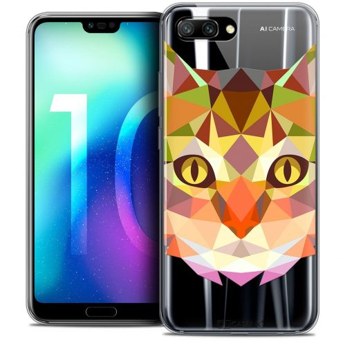 "Coque Crystal Gel Huawei Honor 10 (5.8"") Extra Fine Polygon Animals - Chat"