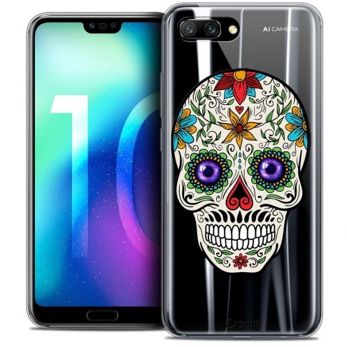 "Coque Crystal Gel Huawei Honor 10 (5.8"") Extra Fine Skull - Maria's Flower"