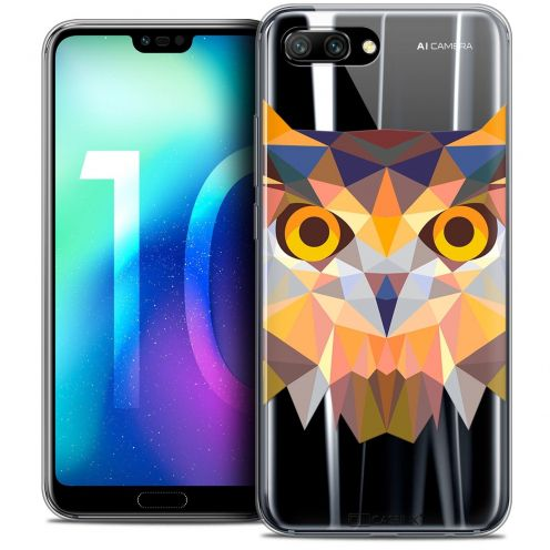 "Coque Crystal Gel Huawei Honor 10 (5.8"") Extra Fine Polygon Animals - Hibou"