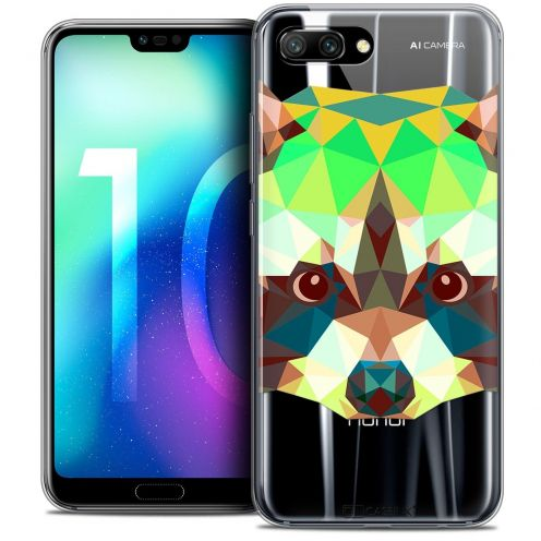 "Coque Crystal Gel Huawei Honor 10 (5.8"") Extra Fine Polygon Animals - Raton Laveur"