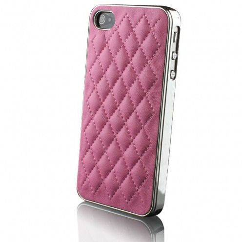 Chrome & braided leather iPhone 4S / 4 case DELUXE Pink