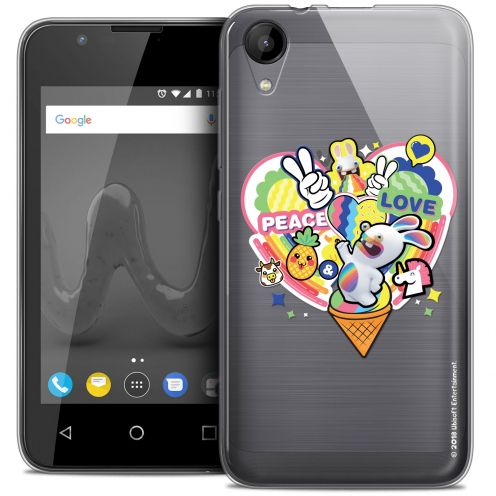 """Crystal Gel Wiko Sunny 2 (4"""") Case Lapins Crétins™ Peace And Love"""