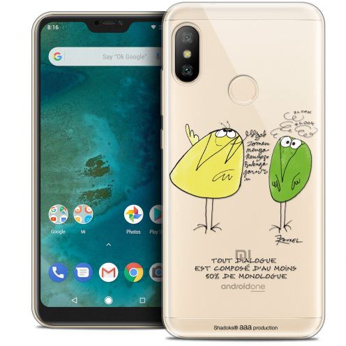 "Extra Slim Crystal Gel Xiaomi Mi A2 LITE (5.8"") Case Les Shadoks® Le Dialogue"