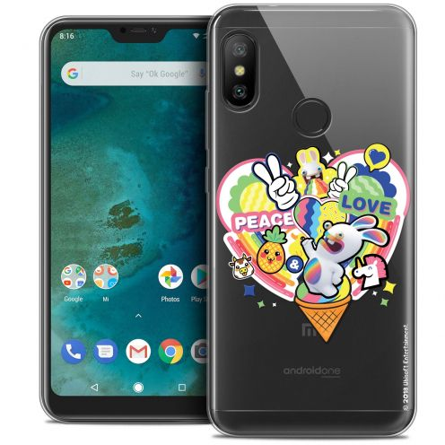 """Crystal Gel Xiaomi Mi A2 LITE (5.8"""") Case Lapins Crétins™ Peace And Love"""