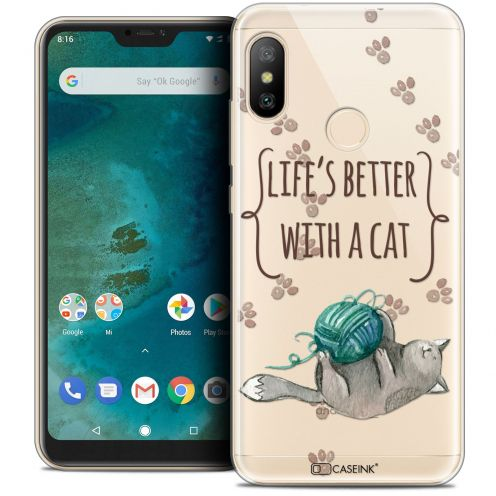 "Extra Slim Crystal Gel Xiaomi Mi A2 LITE (5.8"") Case Quote Life's Better With a Cat"