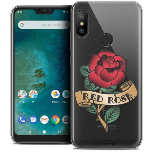 "Extra Slim Crystal Gel Xiaomi Mi A2 LITE (5.8"") Case Tatoo Lover Red Rose"