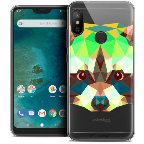 "Extra Slim Crystal Gel Xiaomi Mi A2 LITE (5.8"") Case Polygon Animals Raton Laveur"