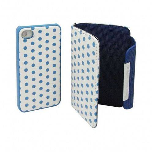 iPhone 4 S / 4 dual portfolio + case 2 in 1 leather DOTS blue