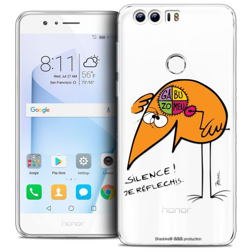"Extra Slim Crystal Gel Huawei Honor 8 (5.2"") Case Les Shadoks® Silence !"