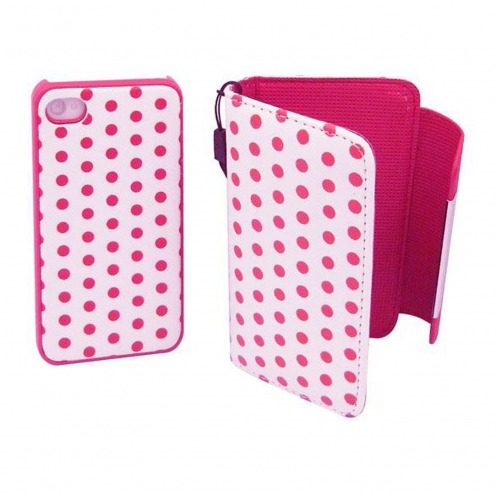 iPhone 4 S / 4 dual portfolio + case 2 in 1 leather DOTS pink