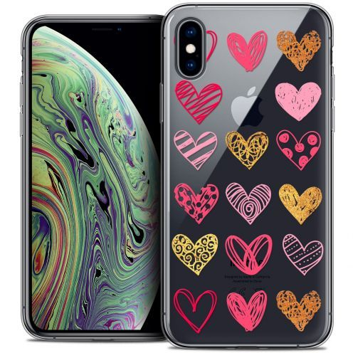 "Extra Slim Crystal Gel Apple iPhone Xs Max (6.5"") Case Sweetie Doodling Hearts"