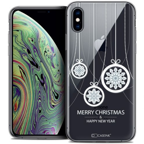 "Extra Slim Crystal Gel Apple iPhone Xs Max (6.5"") Case Noël 2017 Christmas Balls"
