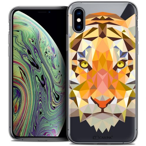 "Extra Slim Crystal Gel Apple iPhone Xs Max (6.5"") Case Polygon Animals Tiger"
