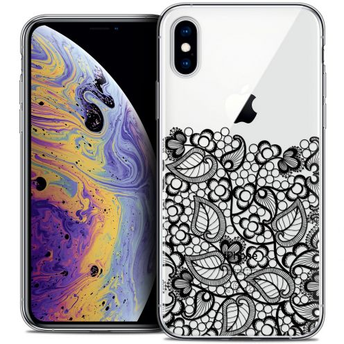 "Extra Slim Crystal Gel Apple iPhone Xs Max (6.5"") Case Spring Bas dentelle Noir"