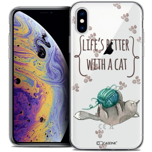 "Extra Slim Crystal Gel Apple iPhone Xs Max (6.5"") Case Quote Life's Better With a Cat"