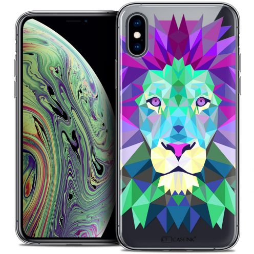 "Extra Slim Crystal Gel Apple iPhone Xs Max (6.5"") Case Polygon Animals Lion"