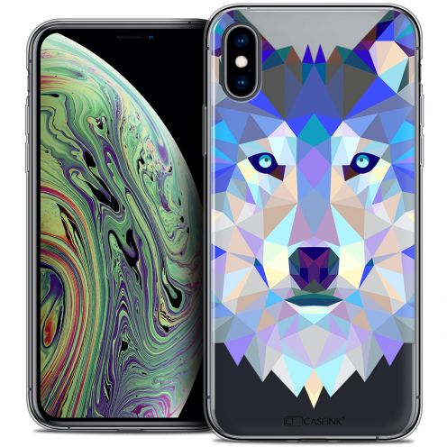 "Extra Slim Crystal Gel Apple iPhone Xs Max (6.5"") Case Polygon Animals Wolf"