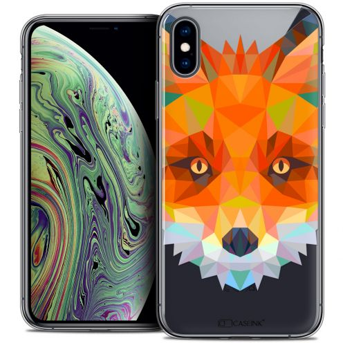 "Extra Slim Crystal Gel Apple iPhone Xs Max (6.5"") Case Polygon Animals Fox"