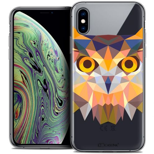 "Extra Slim Crystal Gel Apple iPhone Xs Max (6.5"") Case Polygon Animals Owl"