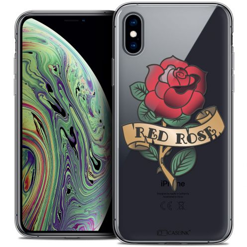 """Extra Slim Crystal Gel Apple iPhone Xs Max (6.5"""") Case Tatoo Lover Red Rose"""