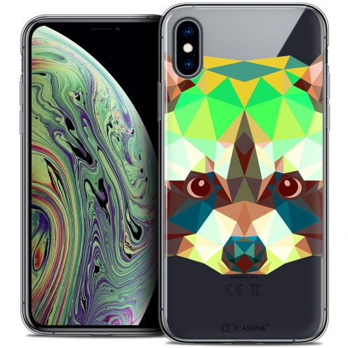 "Extra Slim Crystal Gel Apple iPhone Xs Max (6.5"") Case Polygon Animals Raton Laveur"