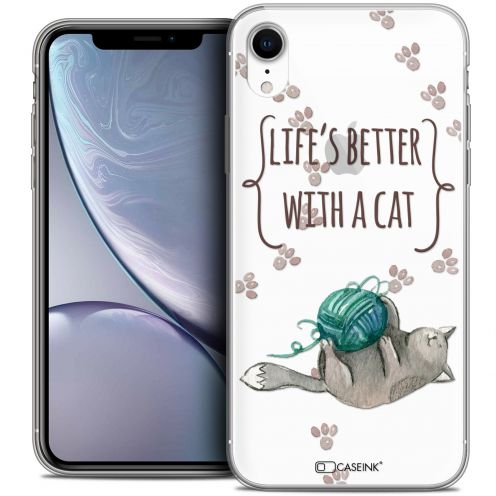 """Extra Slim Crystal Gel Apple iPhone Xr (6.1"""") Case Quote Life's Better With a Cat"""