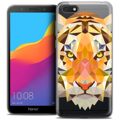 "Extra Slim Crystal Gel Huawei Y5 2018 (5.4"") Case Polygon Animals Tiger"