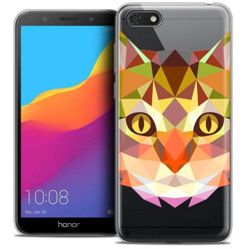 "Extra Slim Crystal Gel Huawei Y5 2018 (5.4"") Case Polygon Animals Cat"