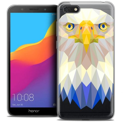 "Extra Slim Crystal Gel Huawei Y5 2018 (5.4"") Case Polygon Animals Eagle"