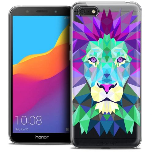 "Extra Slim Crystal Gel Huawei Y5 2018 (5.4"") Case Polygon Animals Lion"