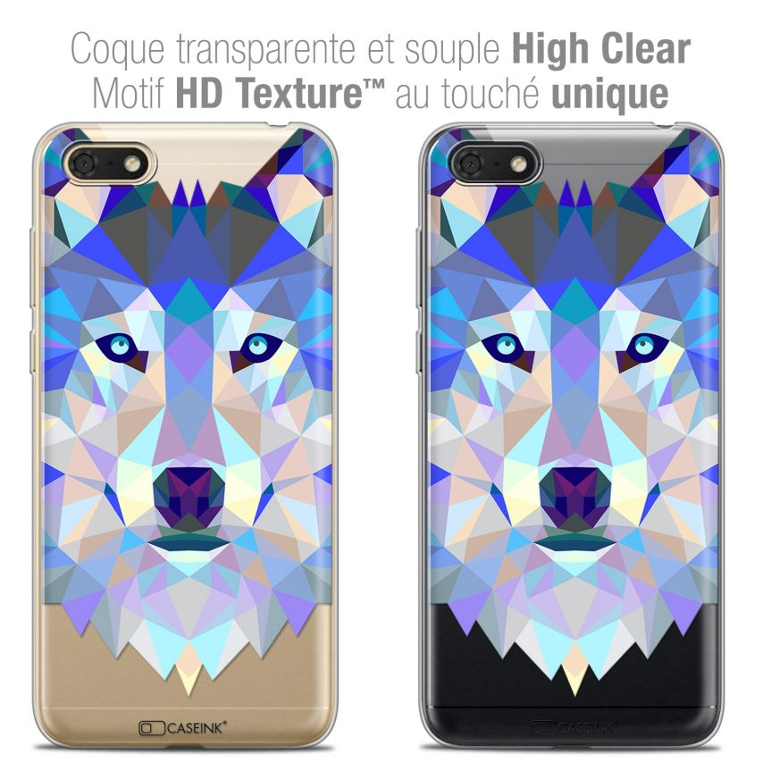 "Extra Slim Crystal Gel Huawei Y5 2018 (5.4"") Case Polygon Animals Wolf"