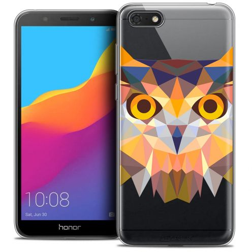 "Extra Slim Crystal Gel Huawei Y5 2018 (5.4"") Case Polygon Animals Owl"