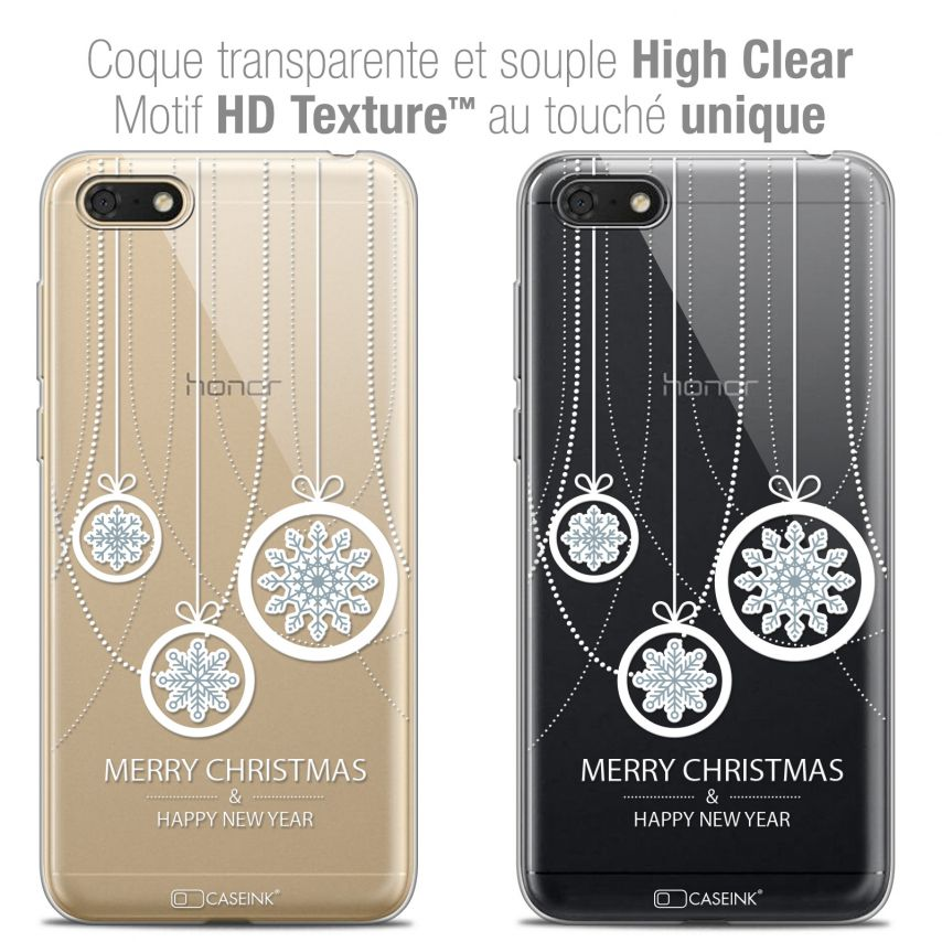 "Extra Slim Crystal Gel Honor 7S (5.45"") Case Noël 2017 Christmas Balls"