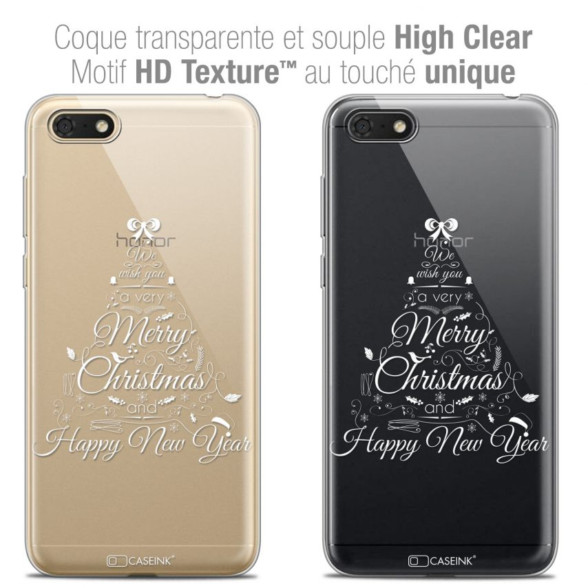 "Extra Slim Crystal Gel Honor 7S (5.45"") Case Noël 2017 Calligraphie"
