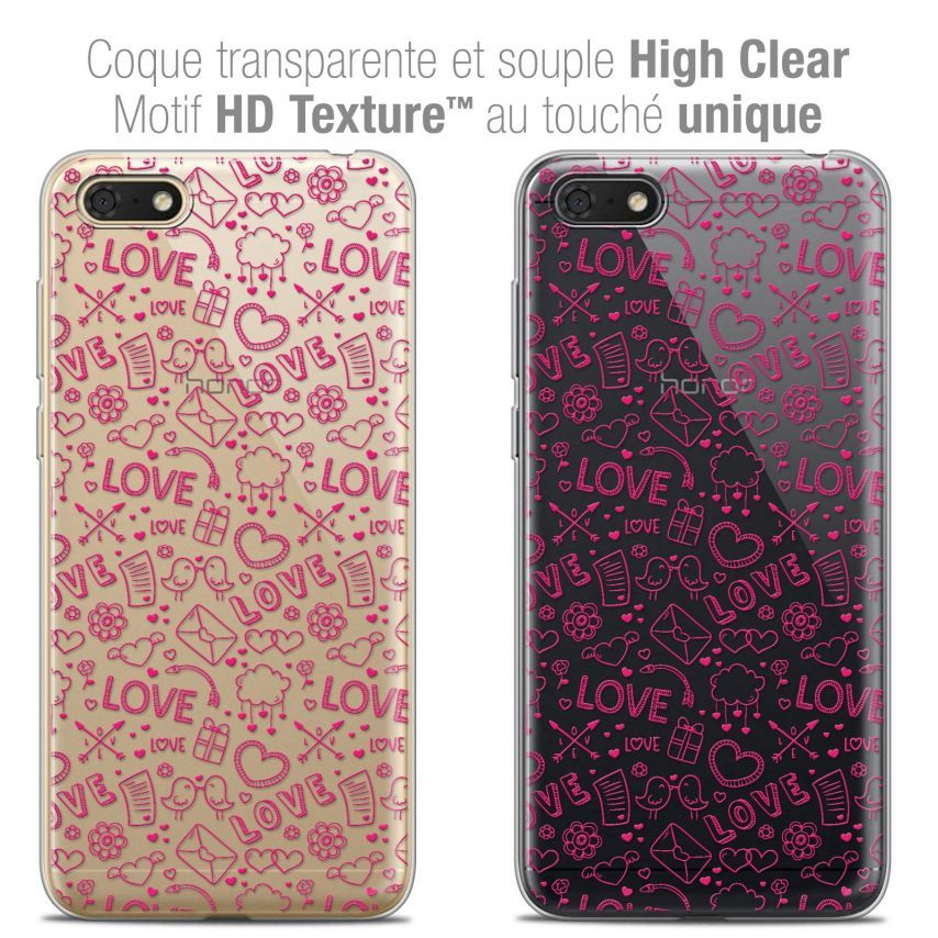 "Extra Slim Crystal Gel Honor 7S (5.45"") Case Love Doodle"