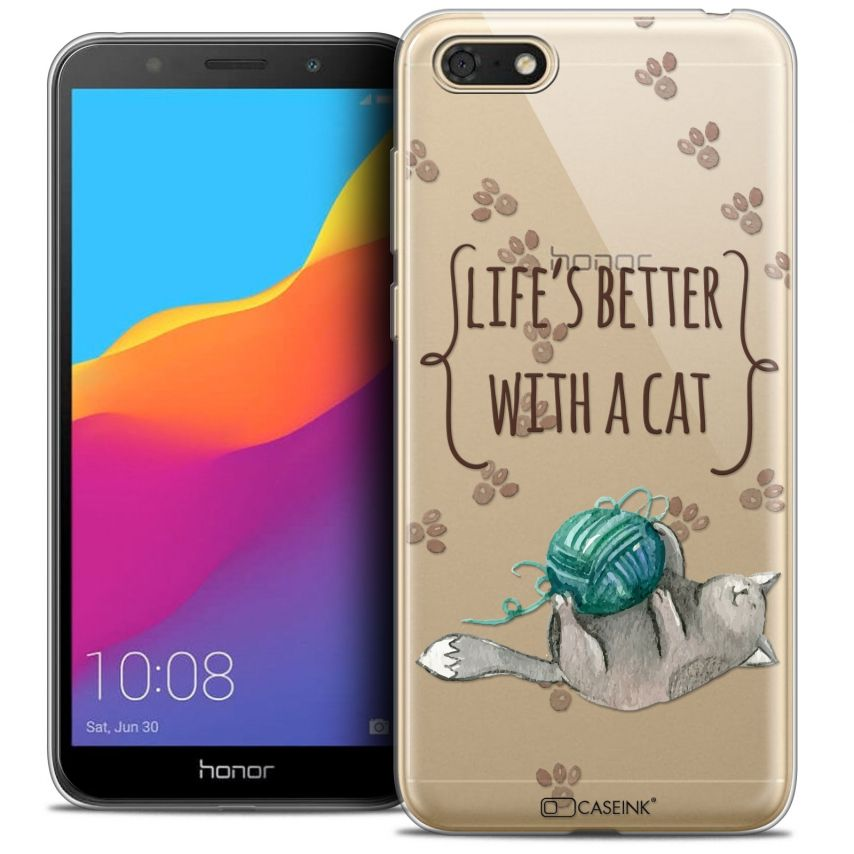"""Extra Slim Crystal Gel Honor 7S (5.45"""") Case Quote Life's Better With a Cat"""