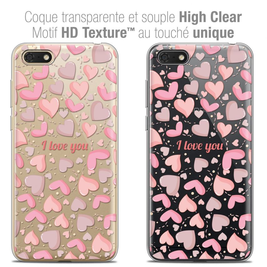 "Extra Slim Crystal Gel Honor 7S (5.45"") Case Love I Love You"