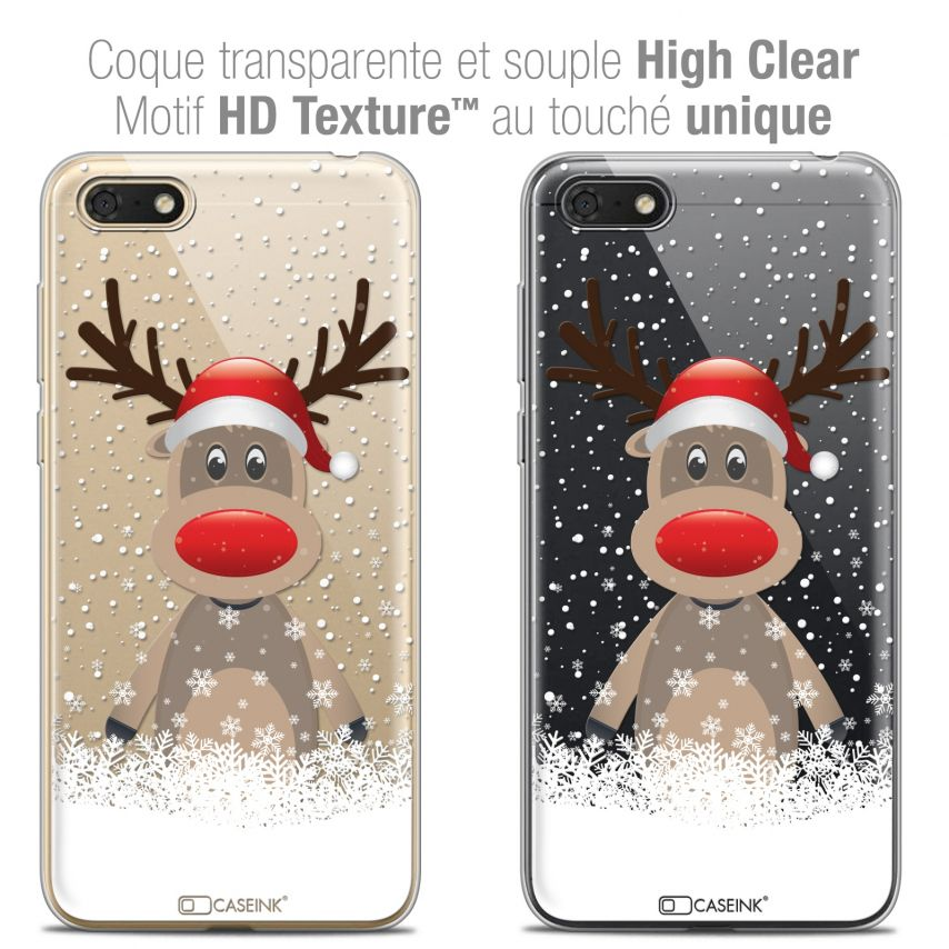 "Extra Slim Crystal Gel Honor 7S (5.45"") Case Noël 2017 Cerf au Bonnet"