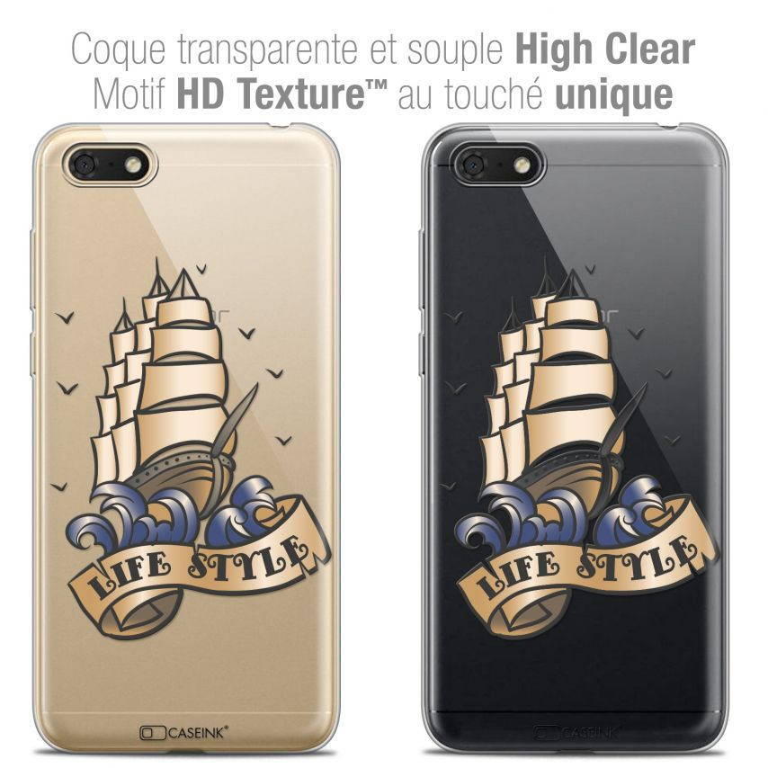 "Extra Slim Crystal Gel Honor 7S (5.45"") Case Tatoo Lover Life Style"