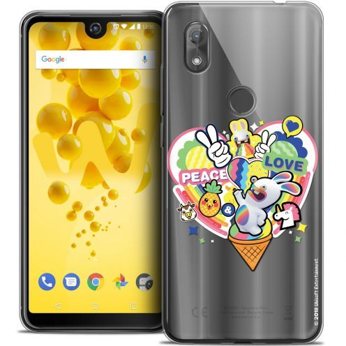 """Crystal Gel Wiko View 2 (6.0"""") Case Lapins Crétins™ Peace And Love"""