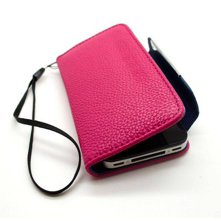 Portfolio leather wallet case for iPhone 4/4S GOLF Pink