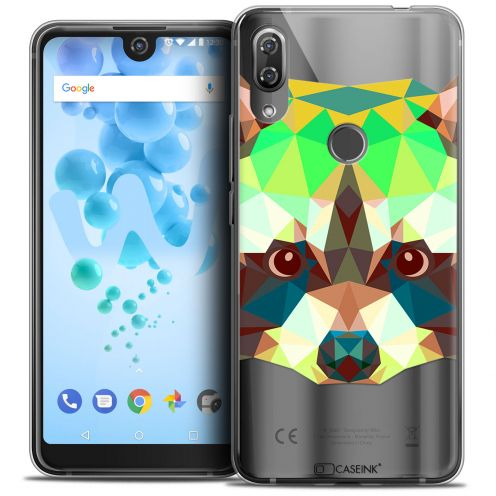 "Extra Slim Crystal Gel Wiko View 2 PRO (6.0"") Case Polygon Animals Raton Laveur"