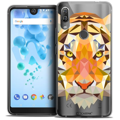 "Extra Slim Crystal Gel Wiko View 2 PRO (6.0"") Case Polygon Animals Tiger"