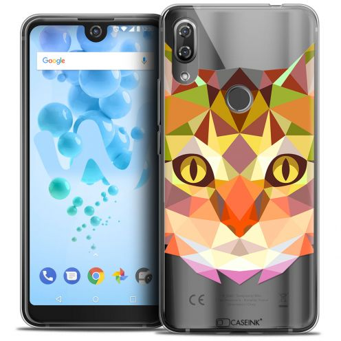 """Extra Slim Crystal Gel Wiko View 2 PRO (6.0"""") Case Polygon Animals Cat"""