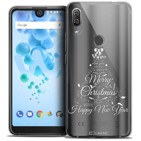 "Extra Slim Crystal Gel Wiko View 2 PRO (6.0"") Case Noël 2017 Calligraphie"