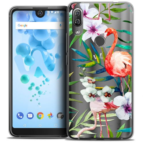 "Extra Slim Crystal Gel Wiko View 2 PRO (6.0"") Case Watercolor Tropical Flamingo"