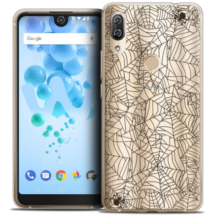 "Extra Slim Crystal Gel Wiko View 2 PRO (6.0"") Case Halloween Spooky Spider"