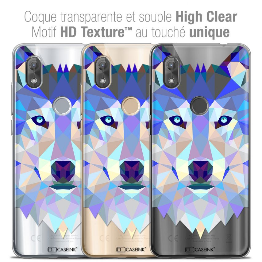 "Extra Slim Crystal Gel Wiko View 2 (6.0"") Case Polygon Animals Wolf"