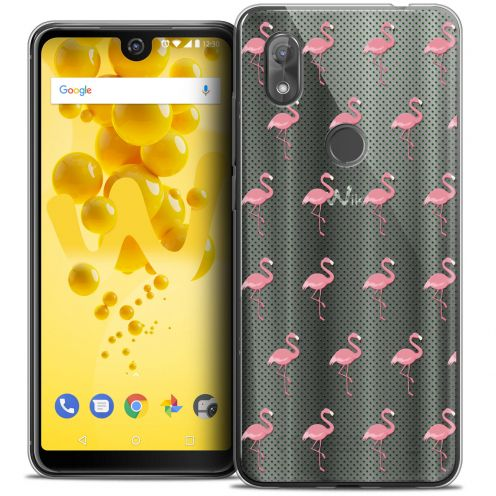 "Extra Slim Crystal Gel Wiko View 2 (6.0"") Case Pattern Les flamants Roses Dots"
